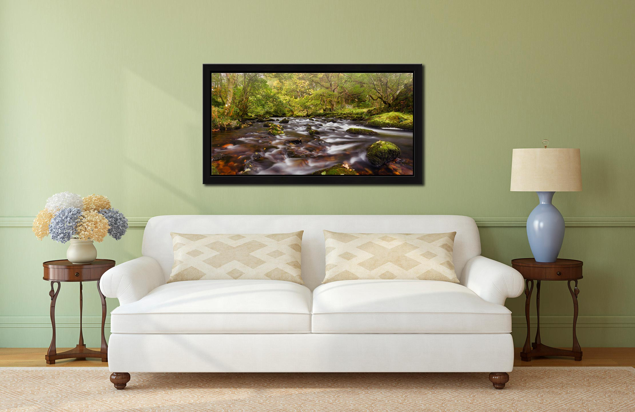 Start of Autumn River Rothay - Black oak floater frame with acrylic glazing on Wall