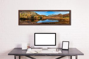 Blea Tarn Autumn Panorama - Walnut floater frame with acrylic glazing on Wall