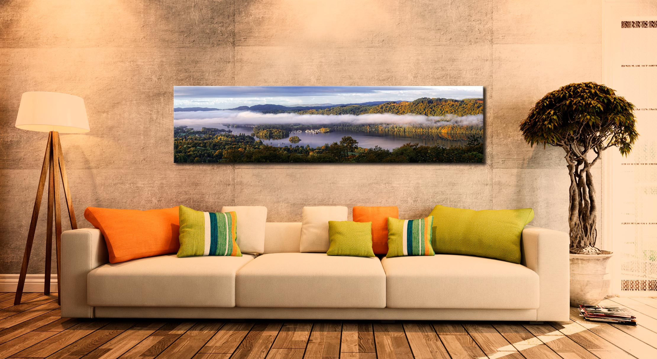 Bowness On Windermere Morning Mists - Print Aluminium Backing With Acrylic Glazing on Wall