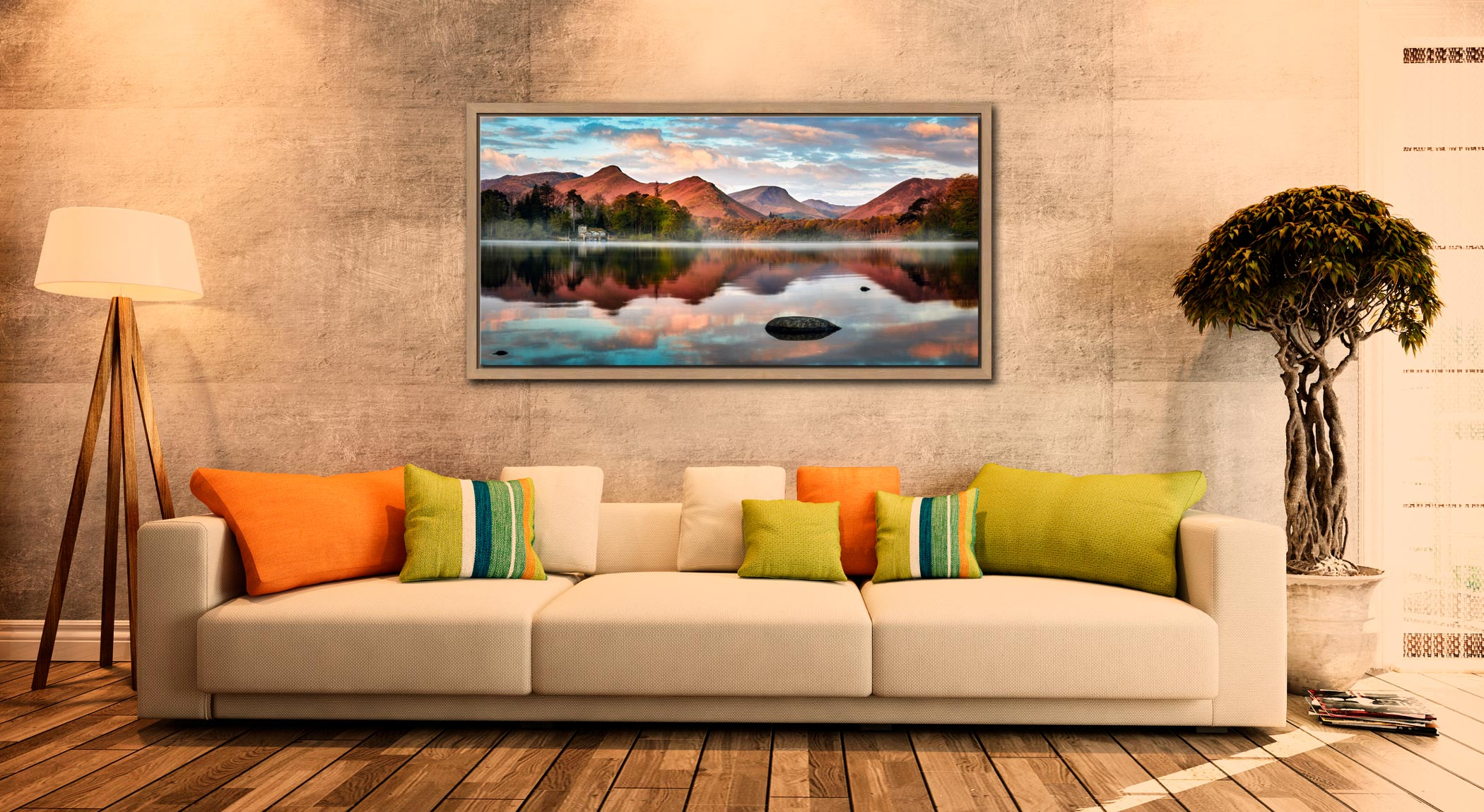Cat Bells Red Dawn - Oak floater frame with acrylic glazing on Wall