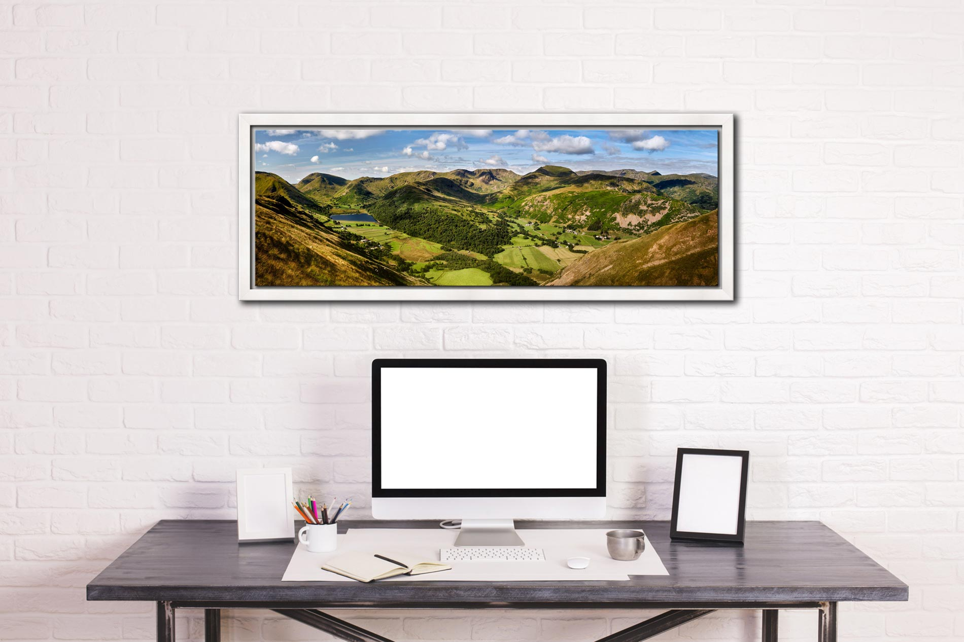 Deepdale and Dovedale Panorama - White Maple floater frame with acrylic glazing on Wall