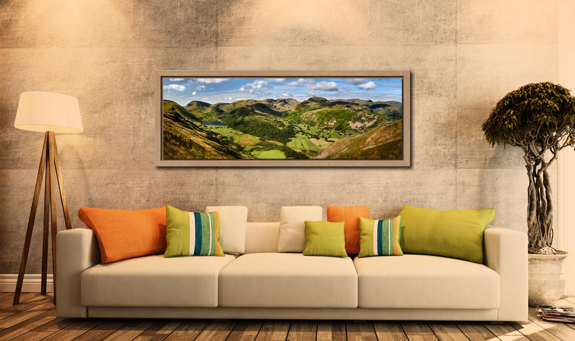 Deepdale and Dovedale Panorama - Oak floater frame with acrylic glazing on Wall