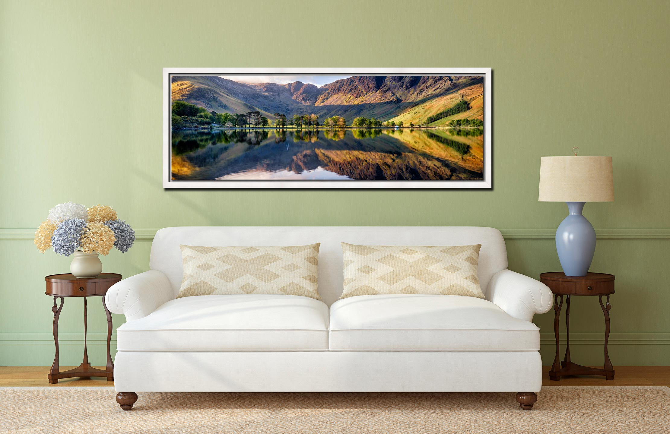 First Light at Buttermere - White Maple floater frame with acrylic glazing on Wall