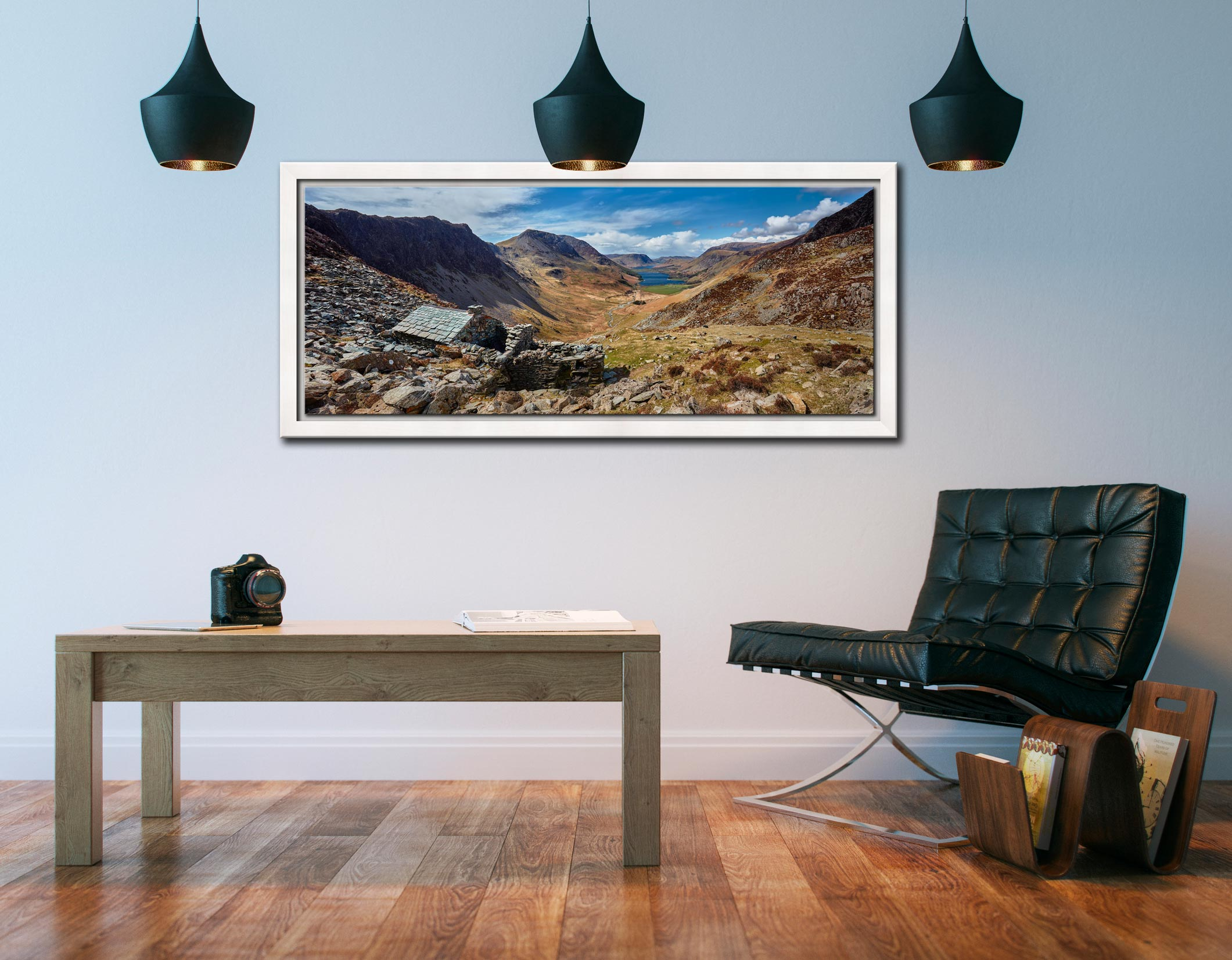 Warnscale Bothy and Buttermere Valley - White Maple floater frame with acrylic glazing on Wall