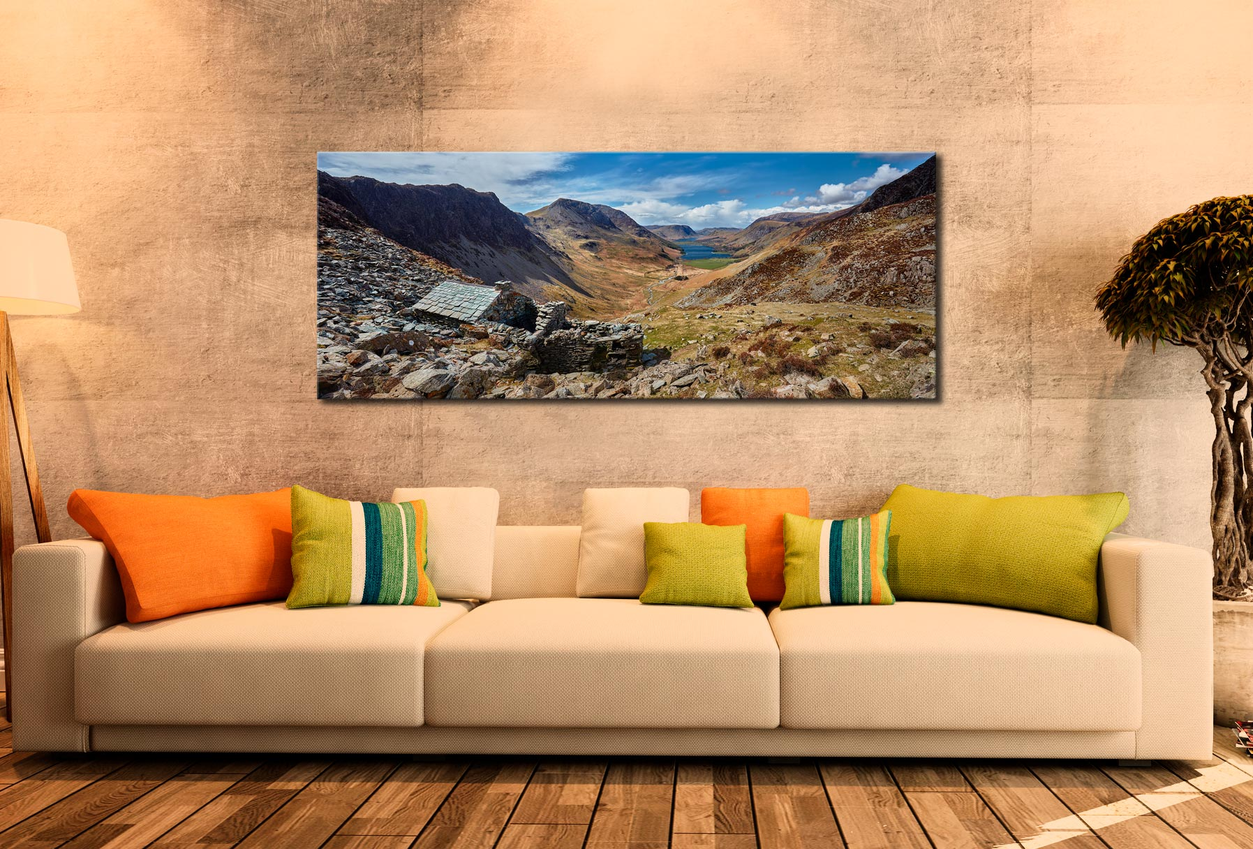 Warnscale Bothy and Buttermere Valley - Print Aluminium Backing With Acrylic Glazing on Wall