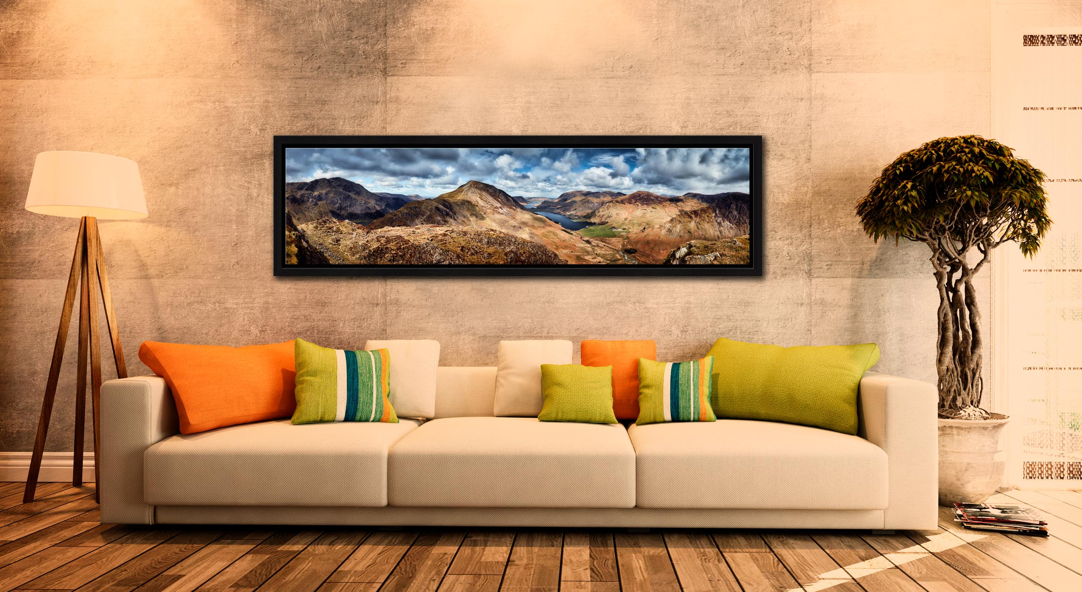 High Crag and Buttermere Panorama - Black oak floater frame with acrylic glazing on Wall