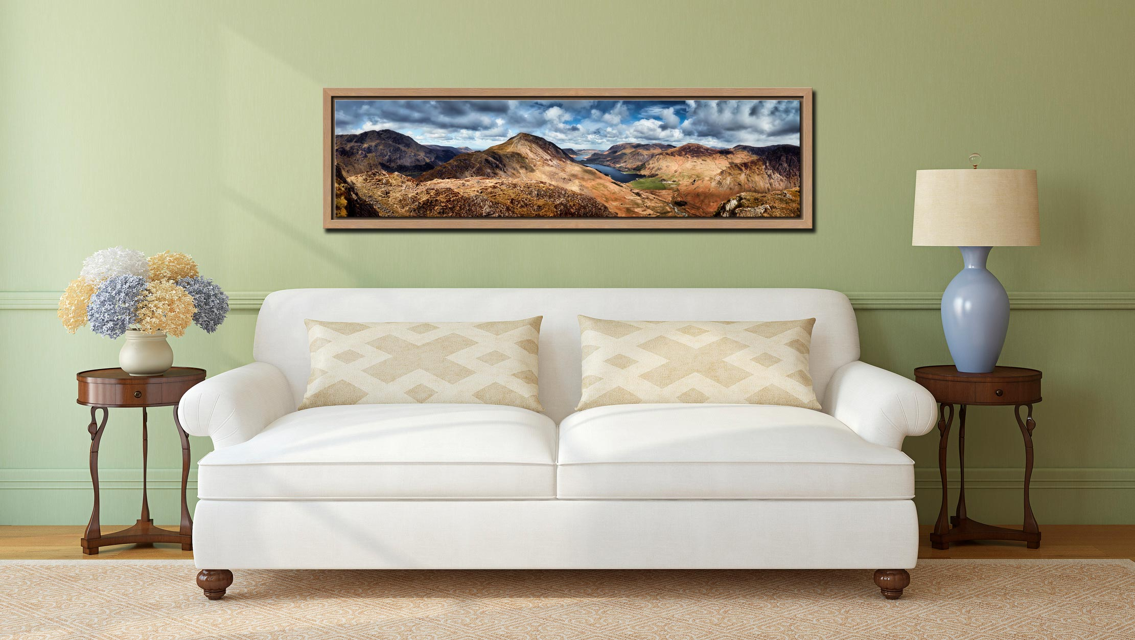 High Crag and Buttermere Panorama - Oak floater frame with acrylic glazing on Wall