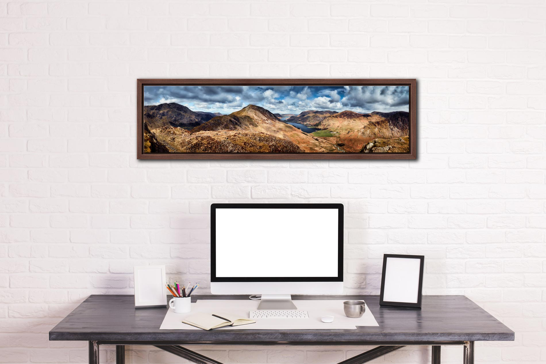 High Crag and Buttermere Panorama - Walnut floater frame with acrylic glazing on Wall