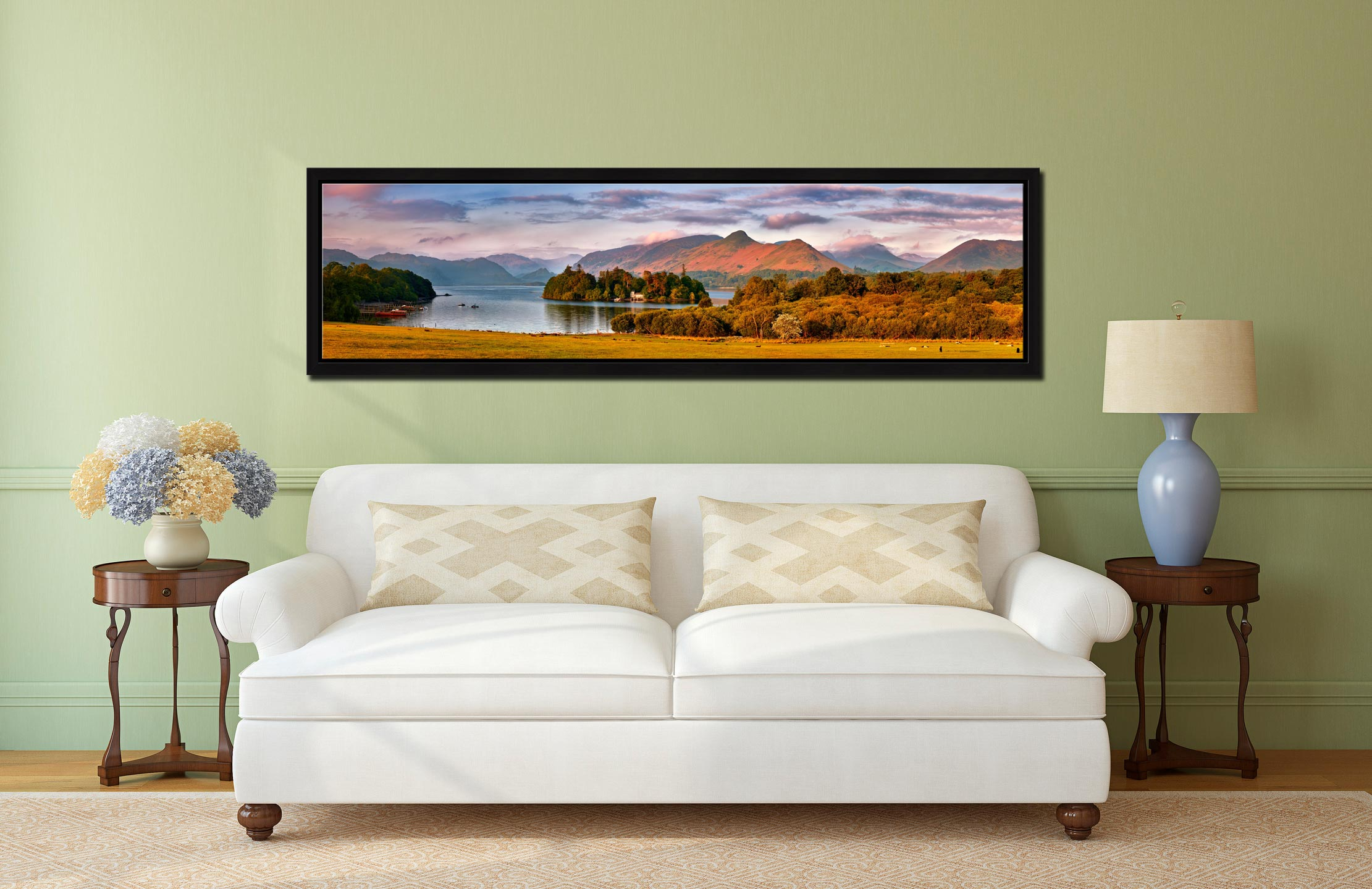 Derwent Water and Catbells in Morning Light - Black oak floater frame with acrylic glazing on Wall