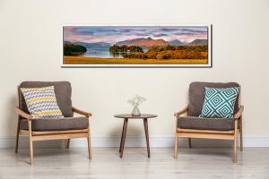 Derwent Water and Catbells in Morning Light - White Maple floater frame with acrylic glazing on Wall