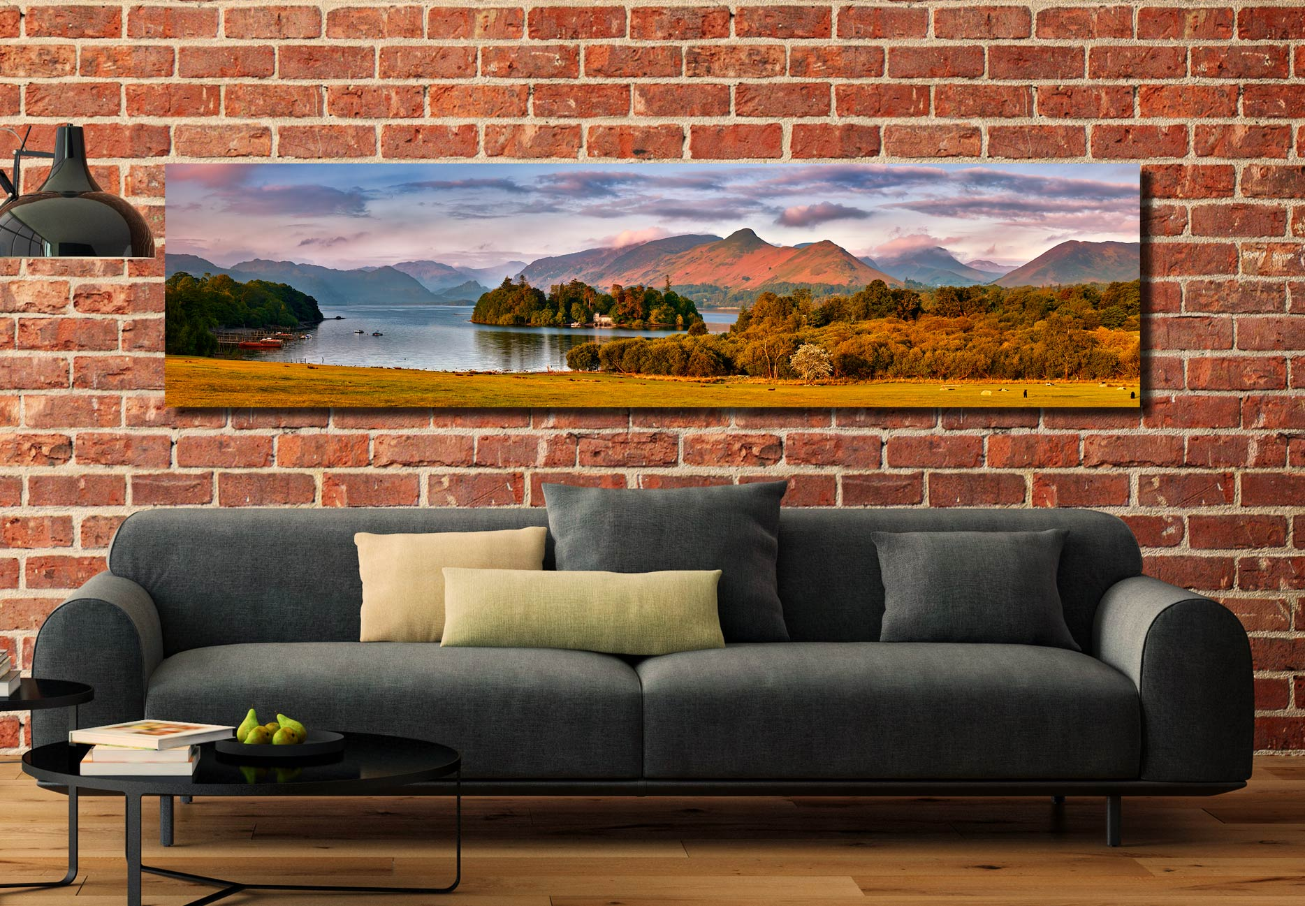 Derwent Water and Catbells in Morning Light - Print Aluminium Backing With Acrylic Glazing on Wall