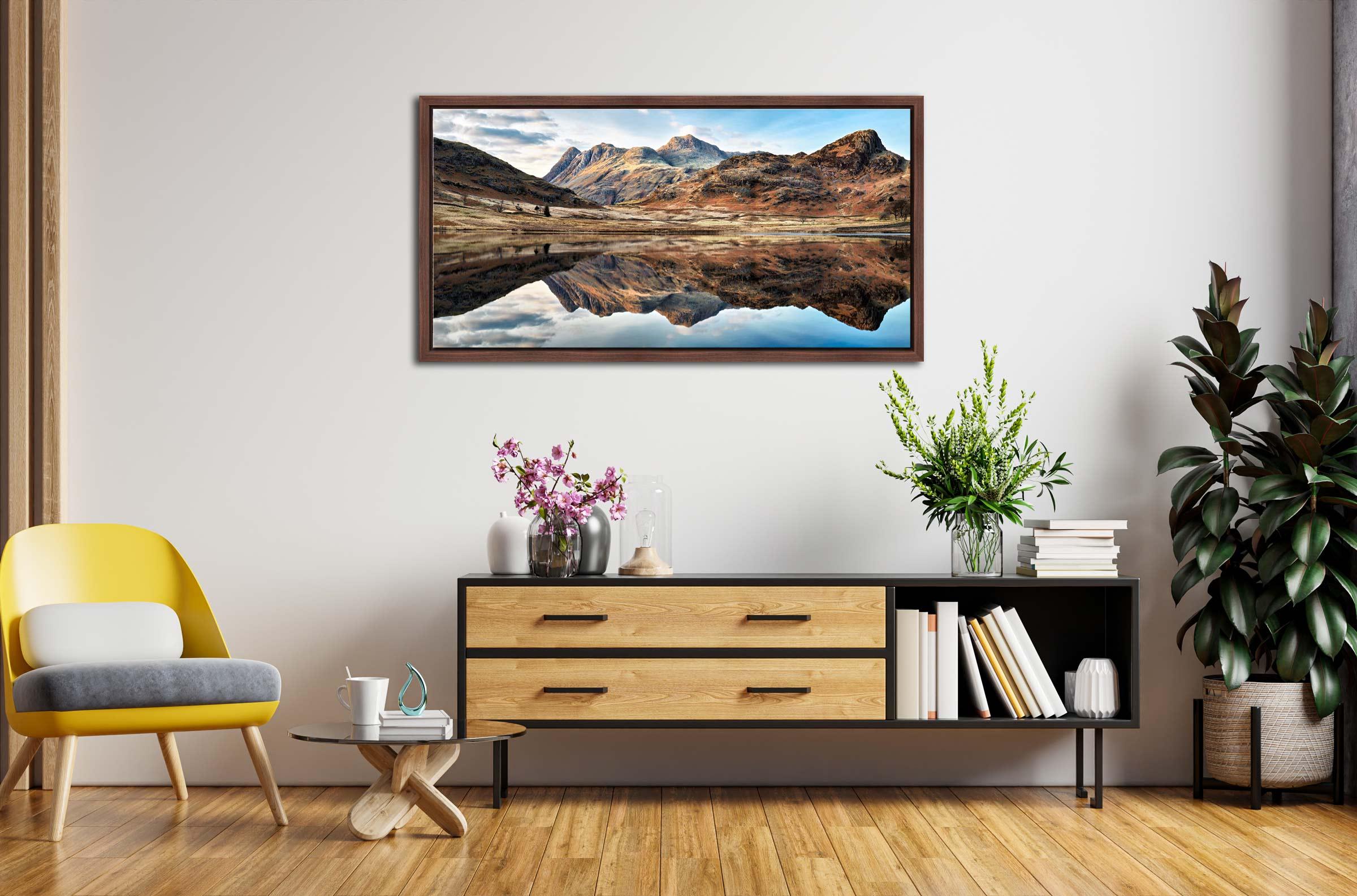 Dusk Over Blea Tarn - Walnut floater frame with acrylic glazing on Wall