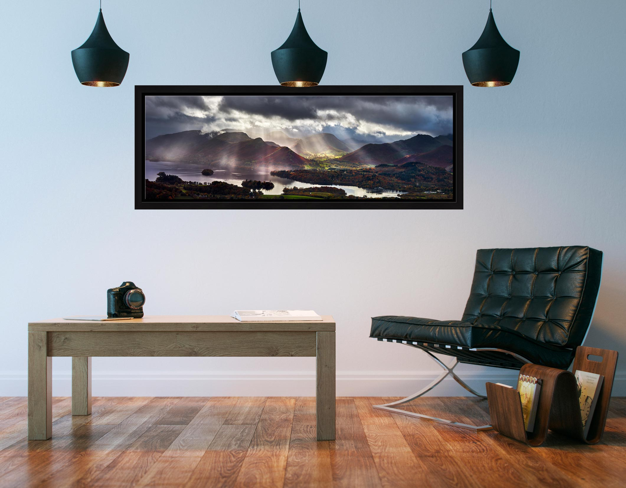 Sunbeams Over the Derwent Fells - Black oak floater frame with acrylic glazing on Wall