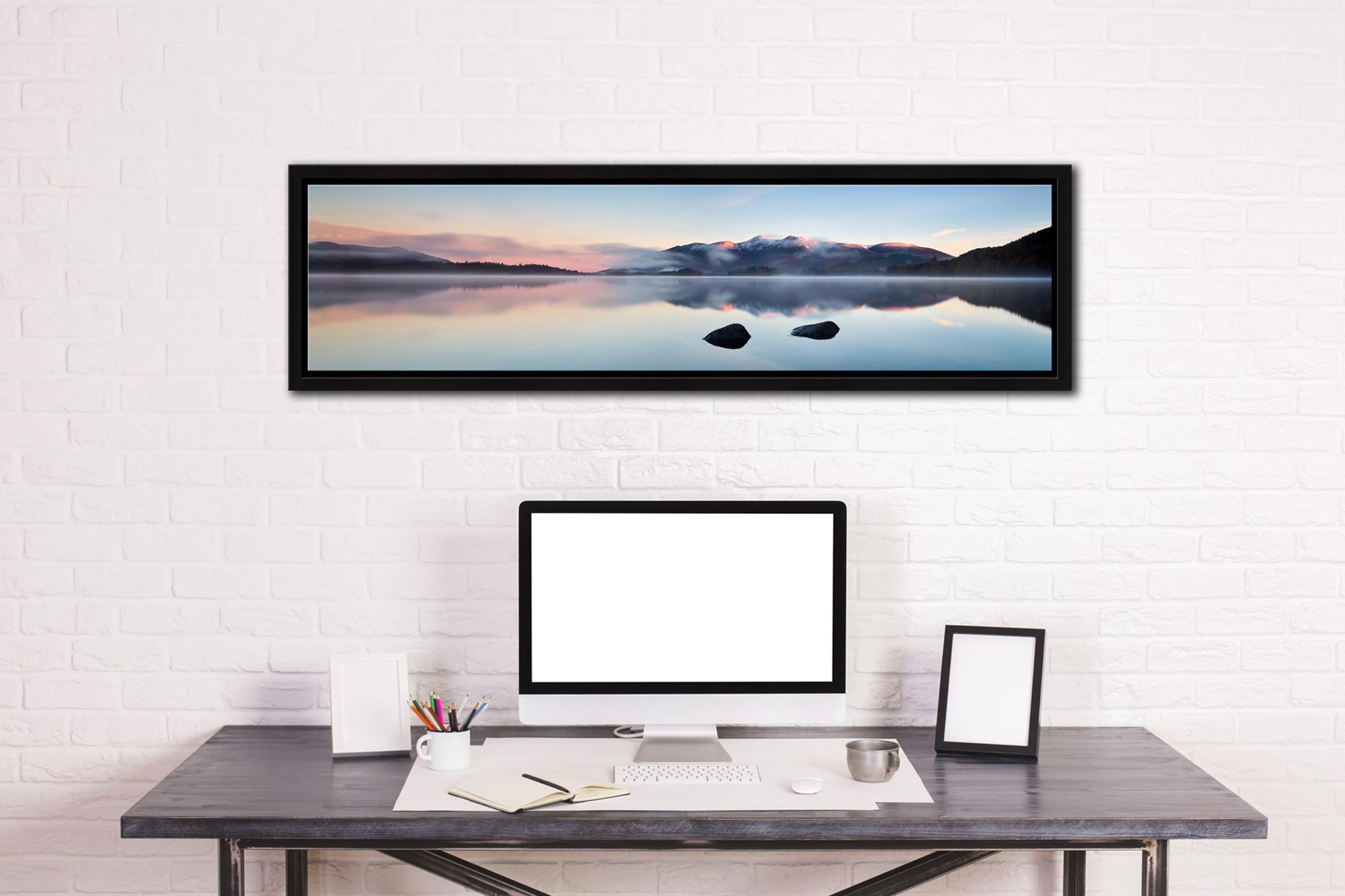 A New Day Dawns at Derwent Water - Black oak floater frame with acrylic glazing on Wall