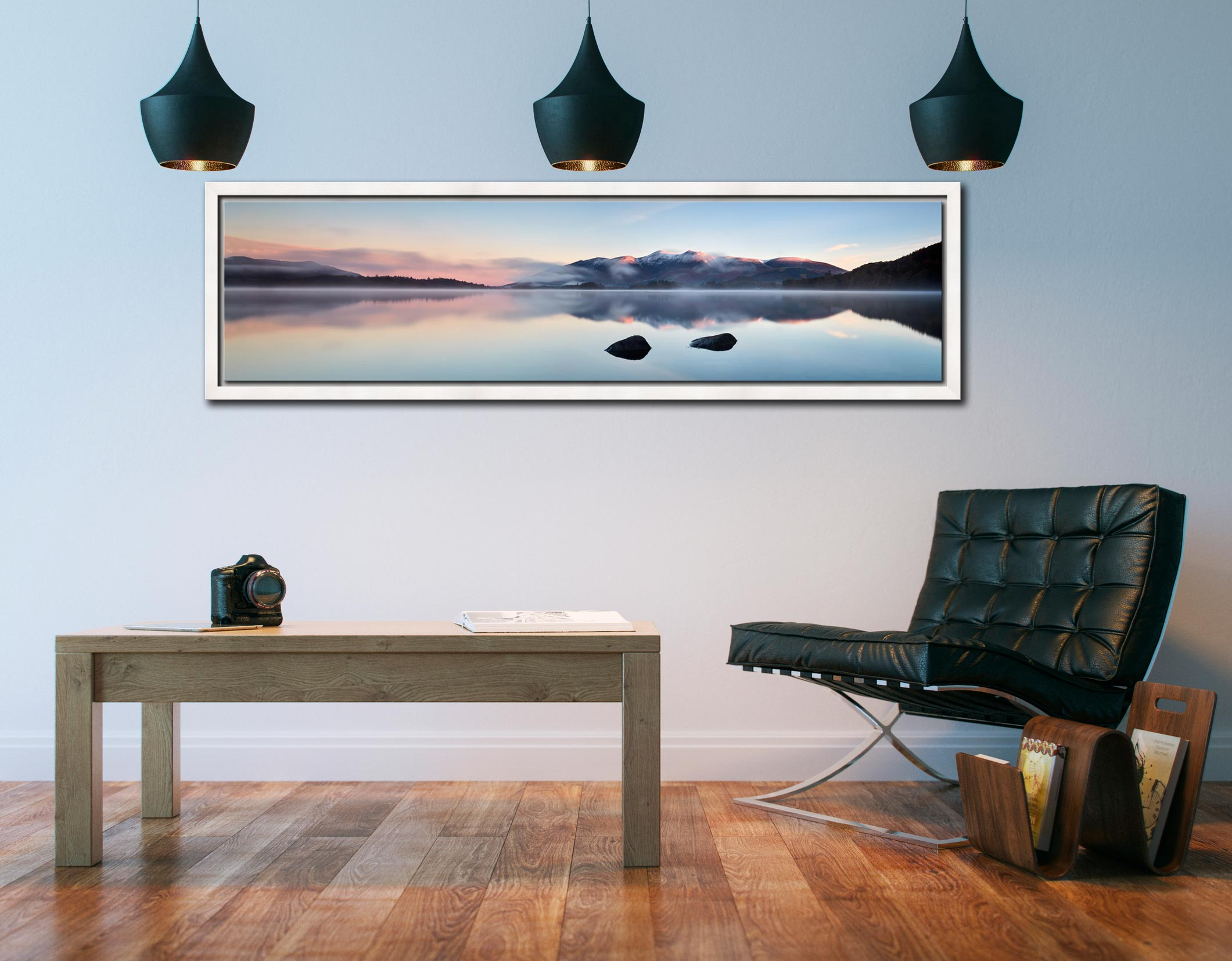 A New Day Dawns at Derwent Water - White Maple floater frame with acrylic glazing on Wall