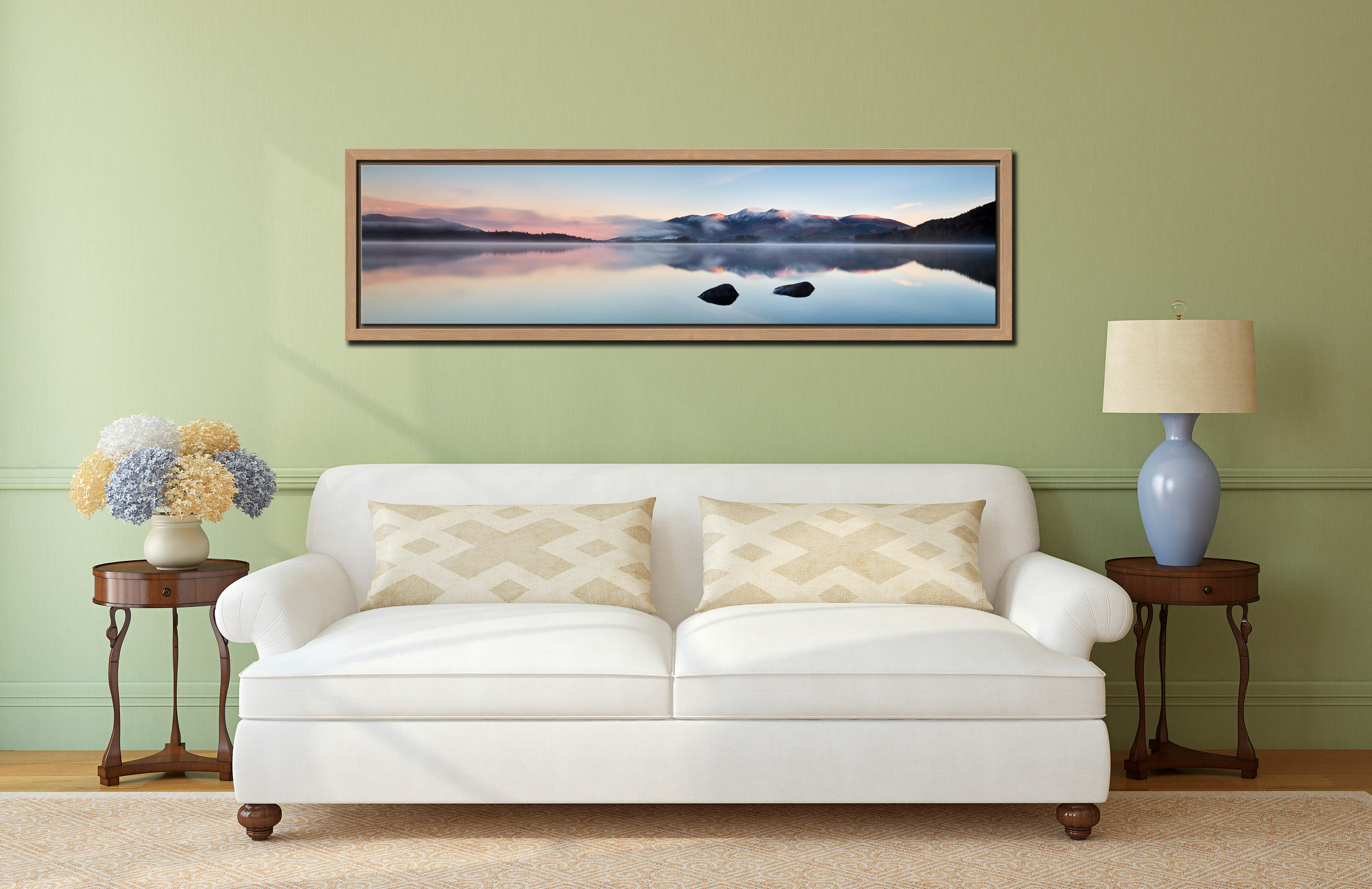 A New Day Dawns at Derwent Water - Oak floater frame with acrylic glazing on Wall