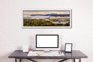 Windermere Morning Mists - White Maple floater frame with acrylic glazing on Wall