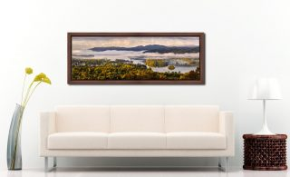 Windermere Morning Mists - Walnut floater frame with acrylic glazing on Wall