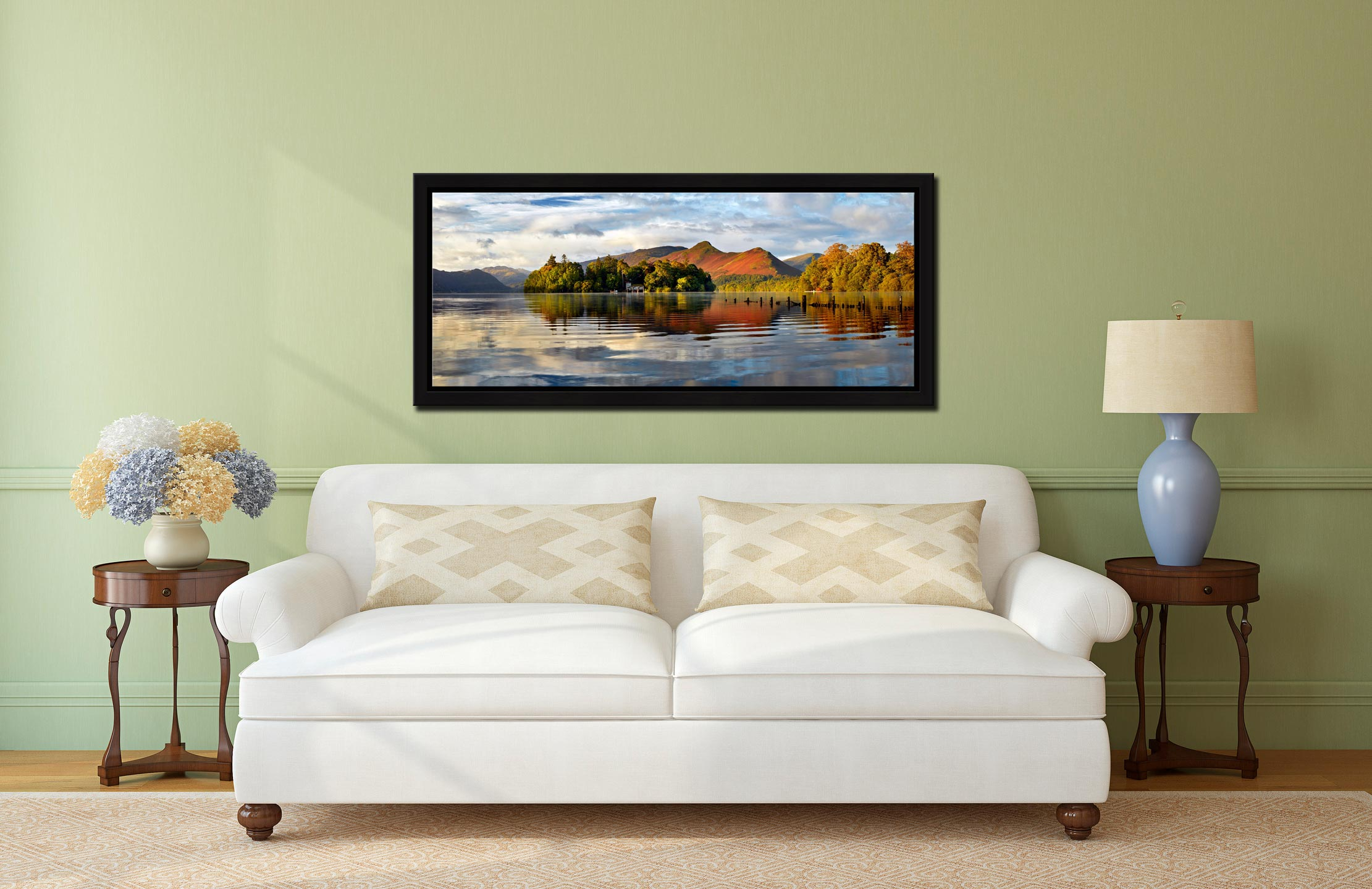 Derwent Isle and Cat Bells - Black oak floater frame with acrylic glazing on Wall