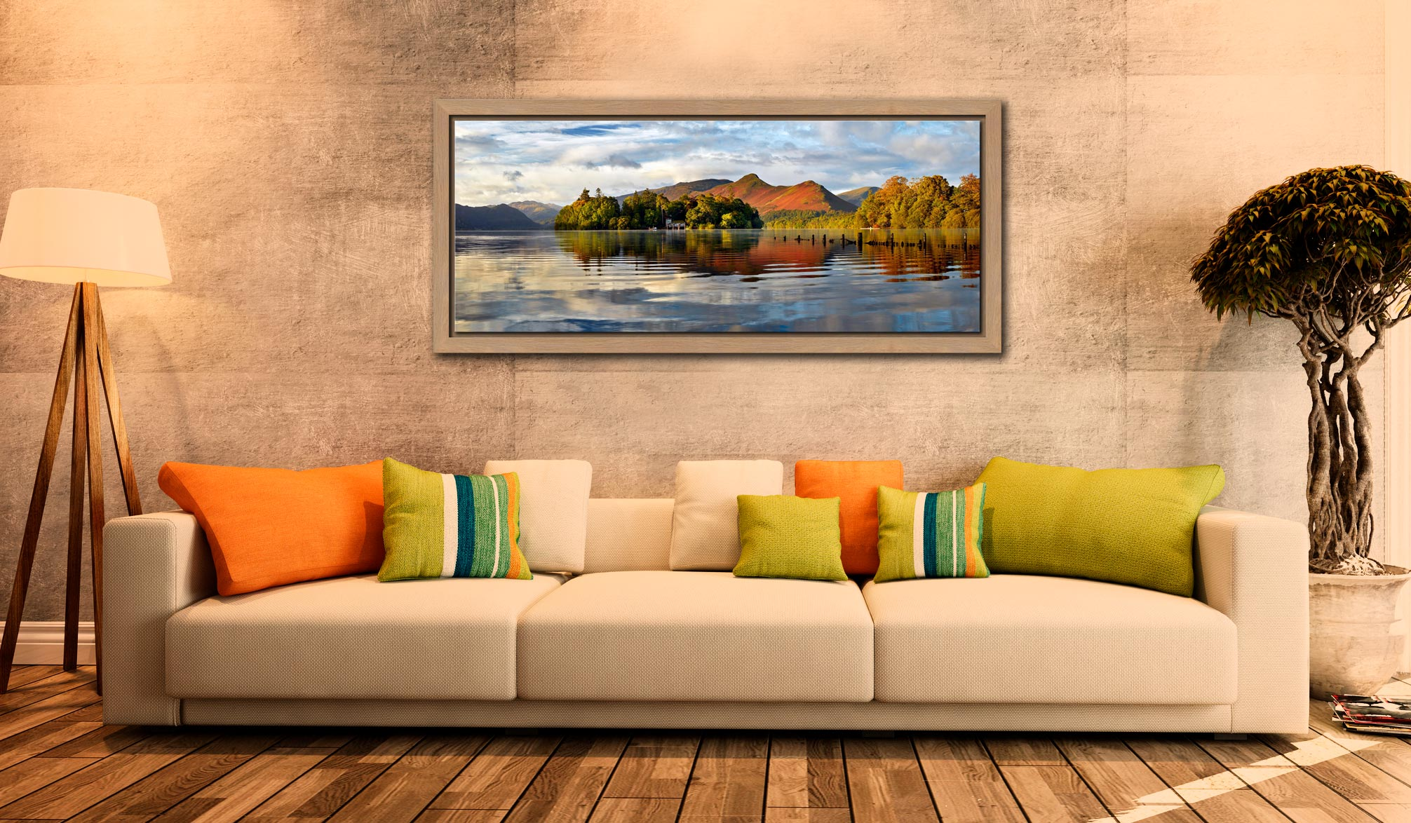 Derwent Isle and Cat Bells - Oak floater frame with acrylic glazing on Wall