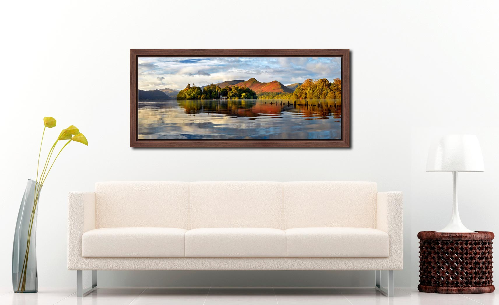 Derwent Isle and Cat Bells - Walnut floater frame with acrylic glazing on Wall