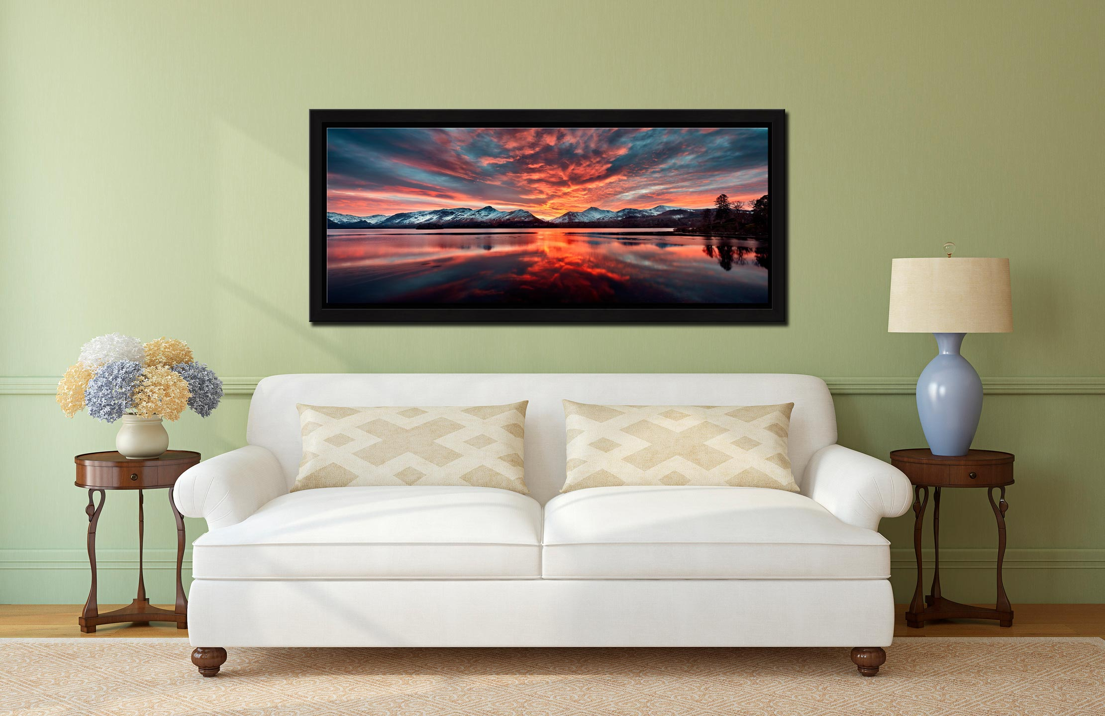 Red Skies Over Derwent Water - Black oak floater frame with acrylic glazing on Wall