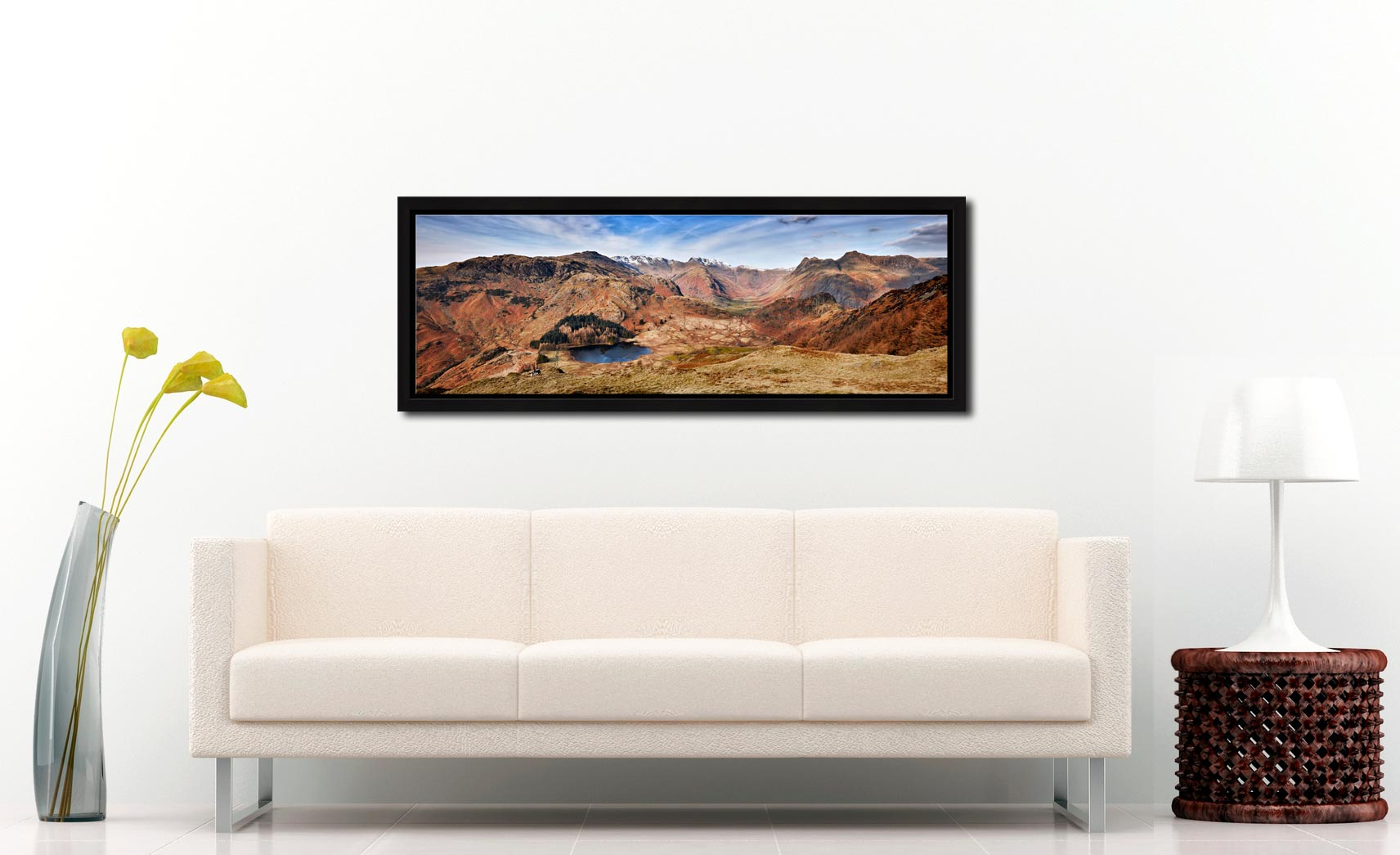Lingmoor Fell Panorama - Black oak floater frame with acrylic glazing on Wall