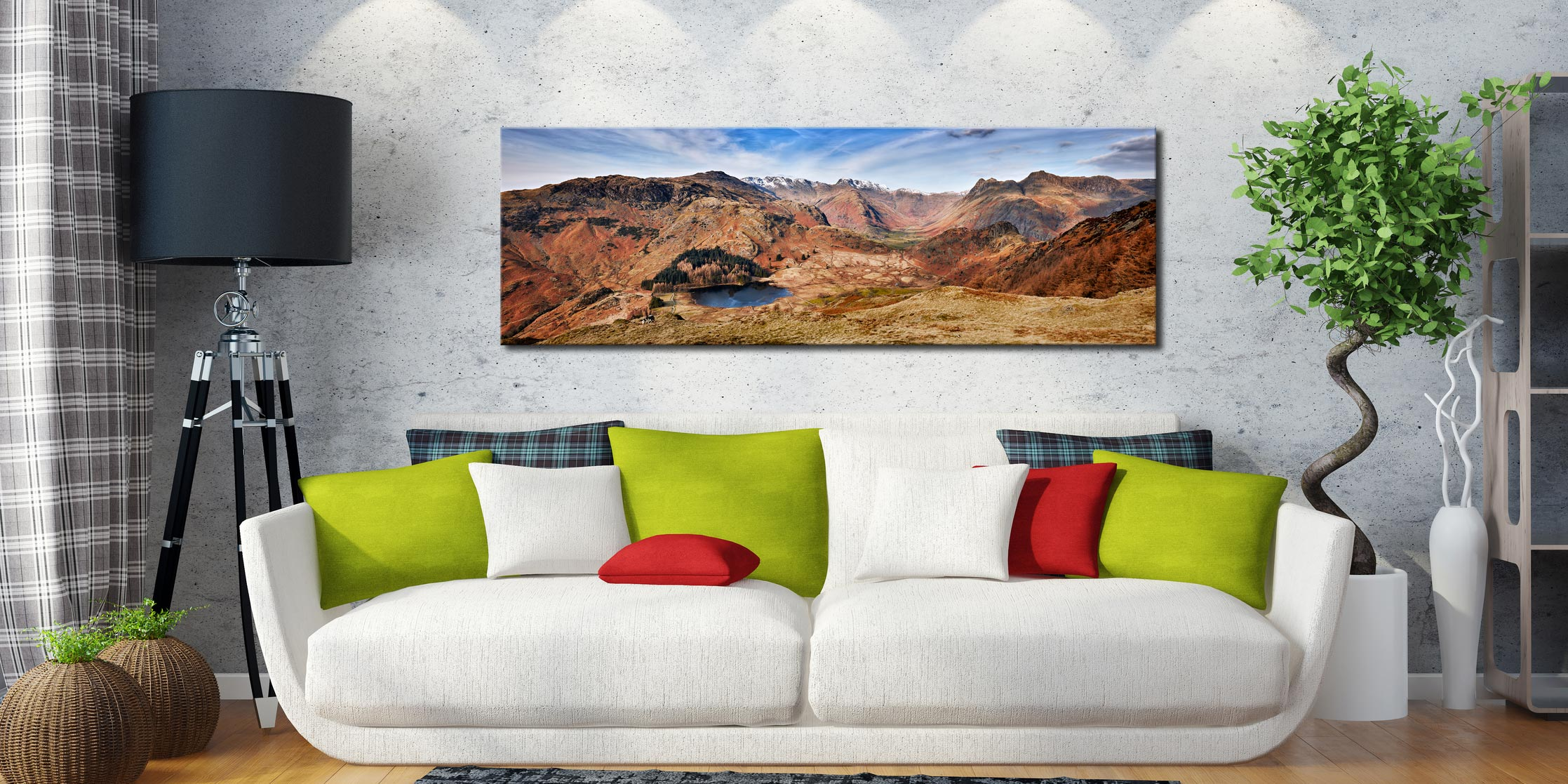 Lingmoor Fell Panorama - Print Aluminium Backing With Acrylic Glazing on Wall