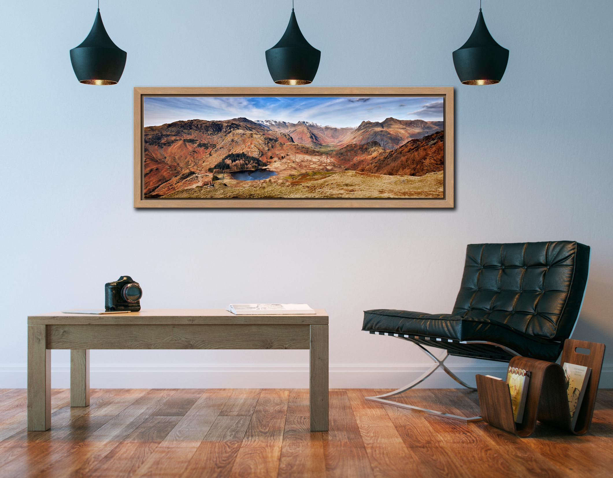 Lingmoor Fell Panorama - Oak floater frame with acrylic glazing on Wall