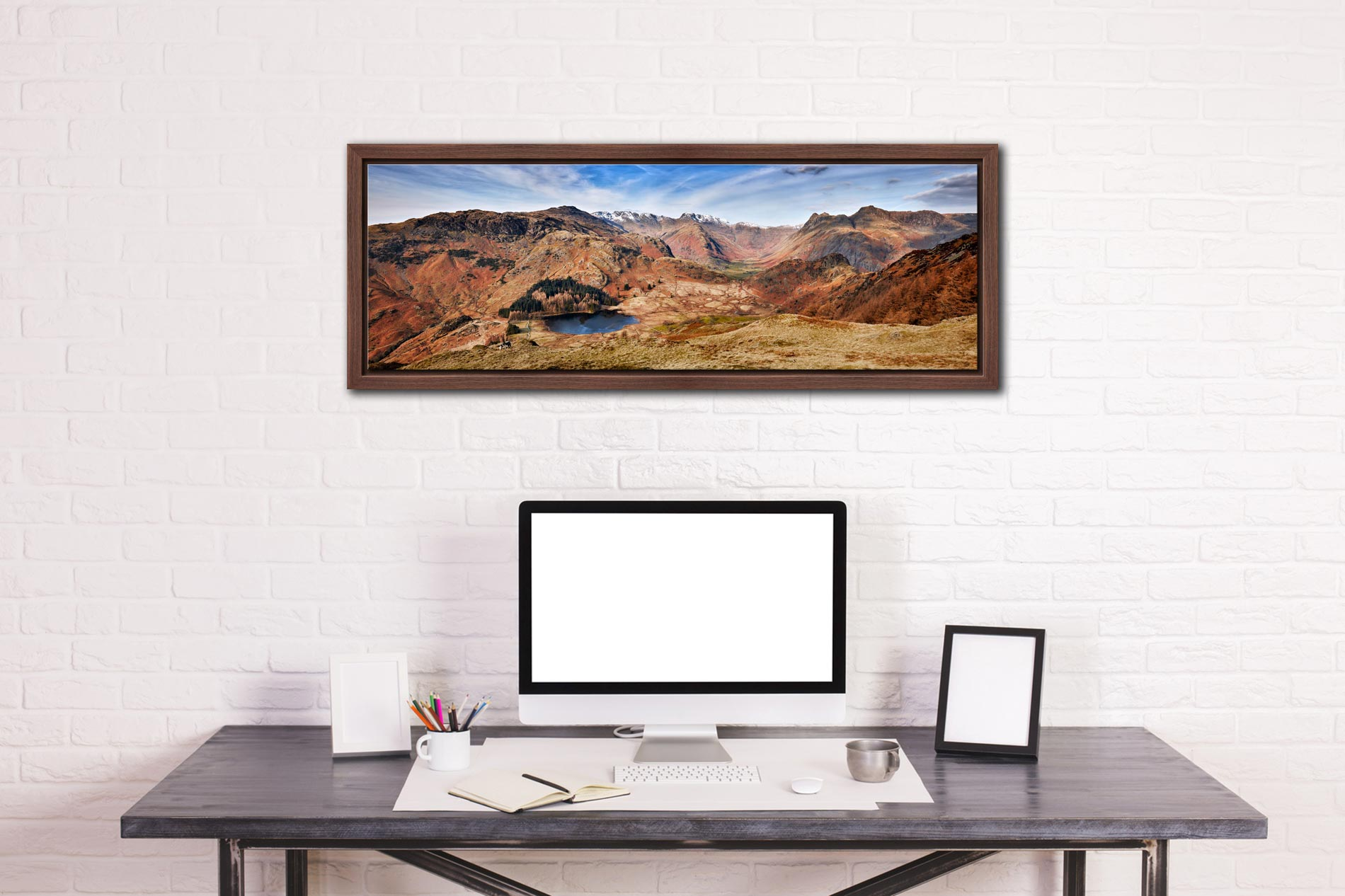 Lingmoor Fell Panorama - Walnut floater frame with acrylic glazing on Wall