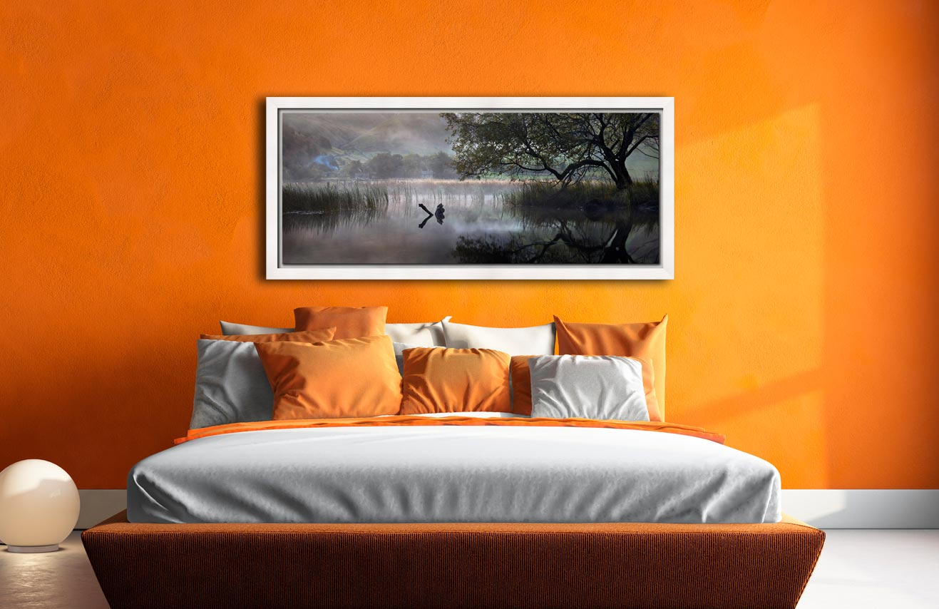 Hartsop Misty Morning - White Maple floater frame with acrylic glazing on Wall