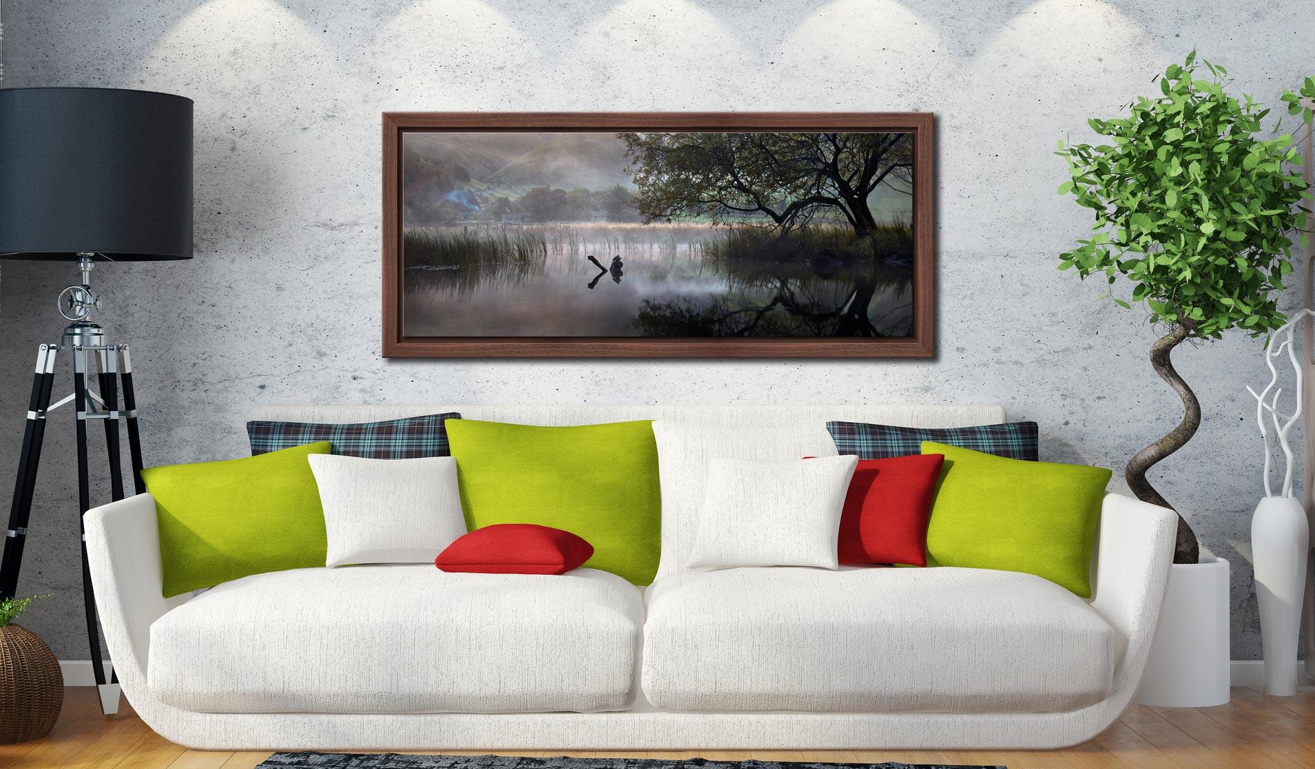 Hartsop Misty Morning - Walnut floater frame with acrylic glazing on Wall