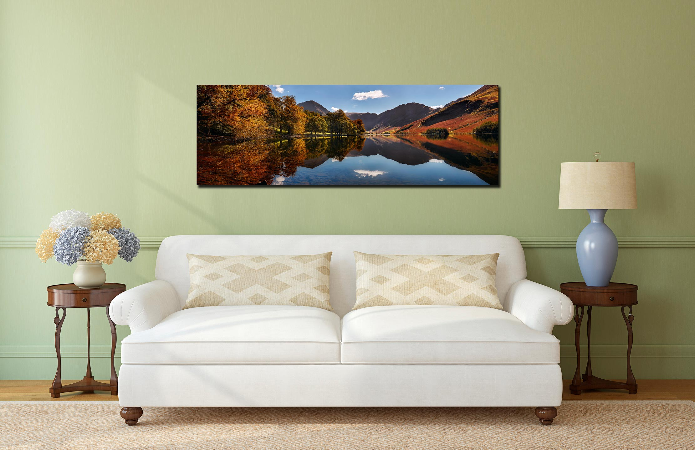 Buttermere Autumn Trees - Print Aluminium Backing With Acrylic Glazing on Wall