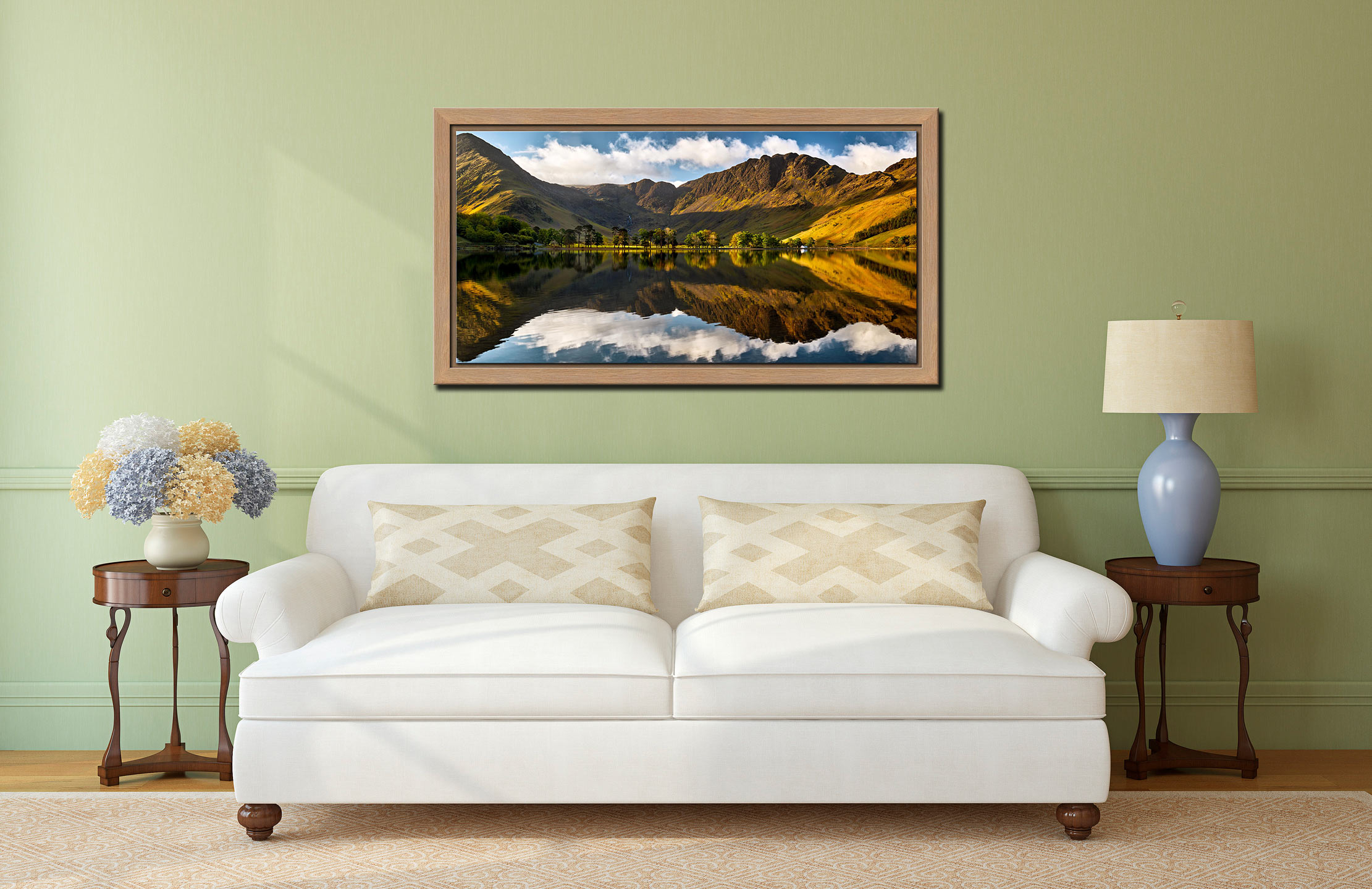 First Light on the Buttermere Pines - Oak floater frame with acrylic glazing on Wall