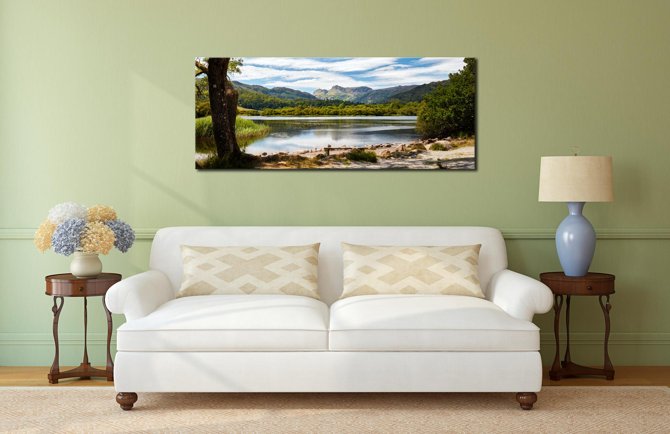 Elterwater Summer Afternoon - Print Aluminium Backing With Acrylic Glazing on Wall