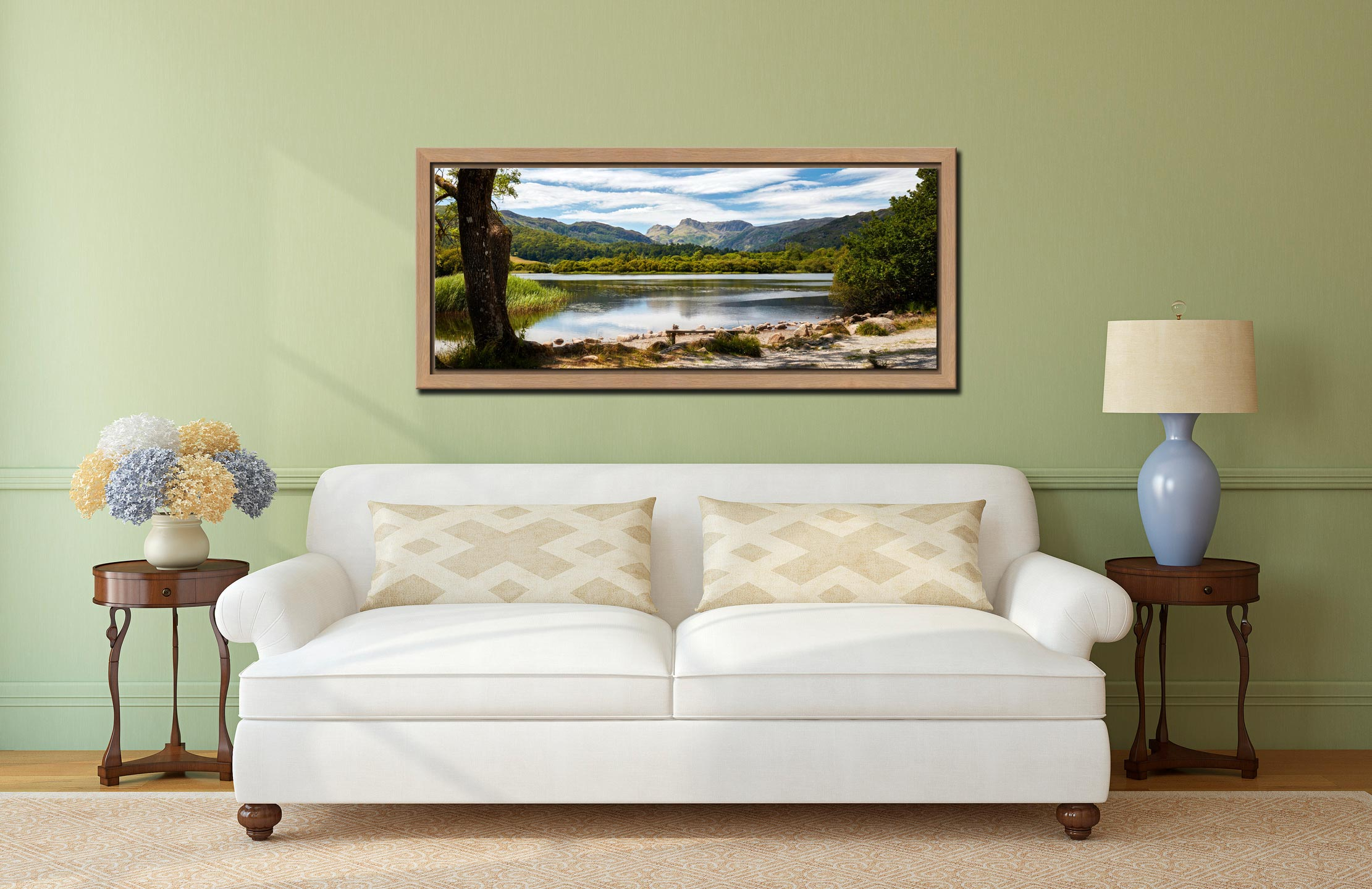 Elterwater Summer Afternoon - Oak floater frame with acrylic glazing on Wall