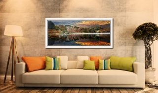 Golden Buttermere - White Maple floater frame with acrylic glazing on Wall