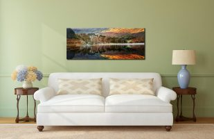 Golden Buttermere - Print Aluminium Backing With Acrylic Glazing on Wall