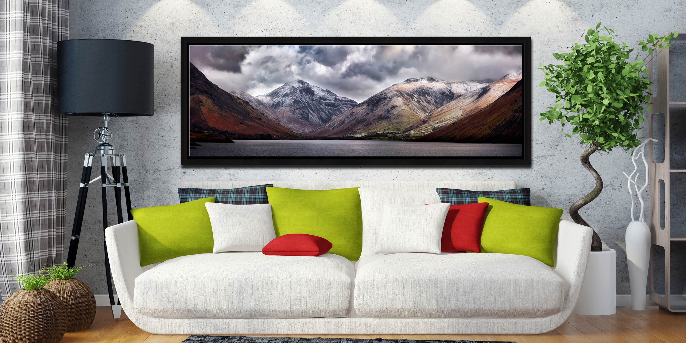 Great Gable and Lingmell - Black oak floater frame with acrylic glazing on Wall