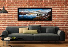 Derwent Water Morning Mists - Black oak floater frame with acrylic glazing on Wall