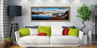 Derwent Water Morning Mists - Oak floater frame with acrylic glazing on Wall