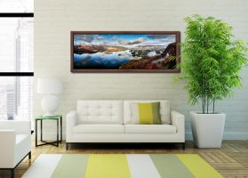 Derwent Water Morning Mists - Walnut floater frame with acrylic glazing on Wall