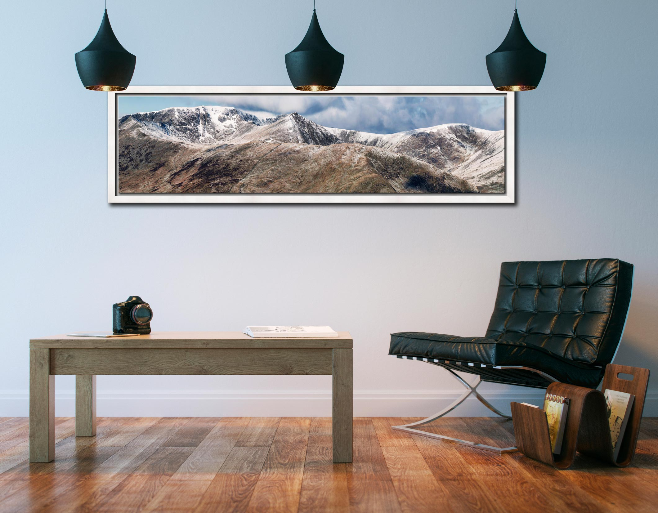 Helvellyn Mountains Panorama - White Maple floater frame with acrylic glazing on Wall