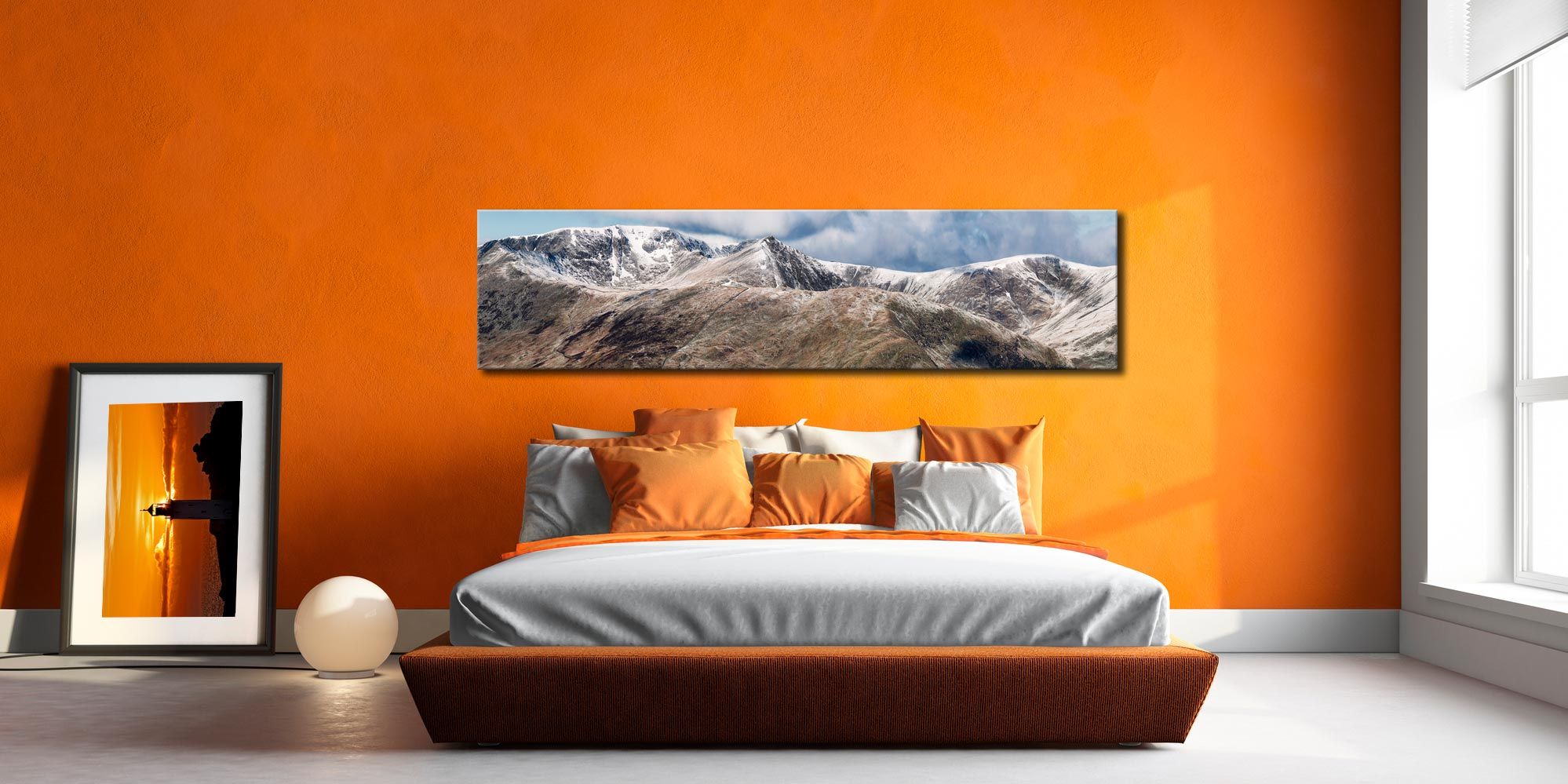 Helvellyn Mountains Panorama - Print Aluminium Backing With Acrylic Glazing on Wall