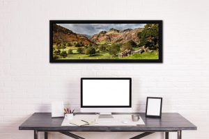 Summer Greens of Langdale - Black oak floater frame with acrylic glazing on Wall