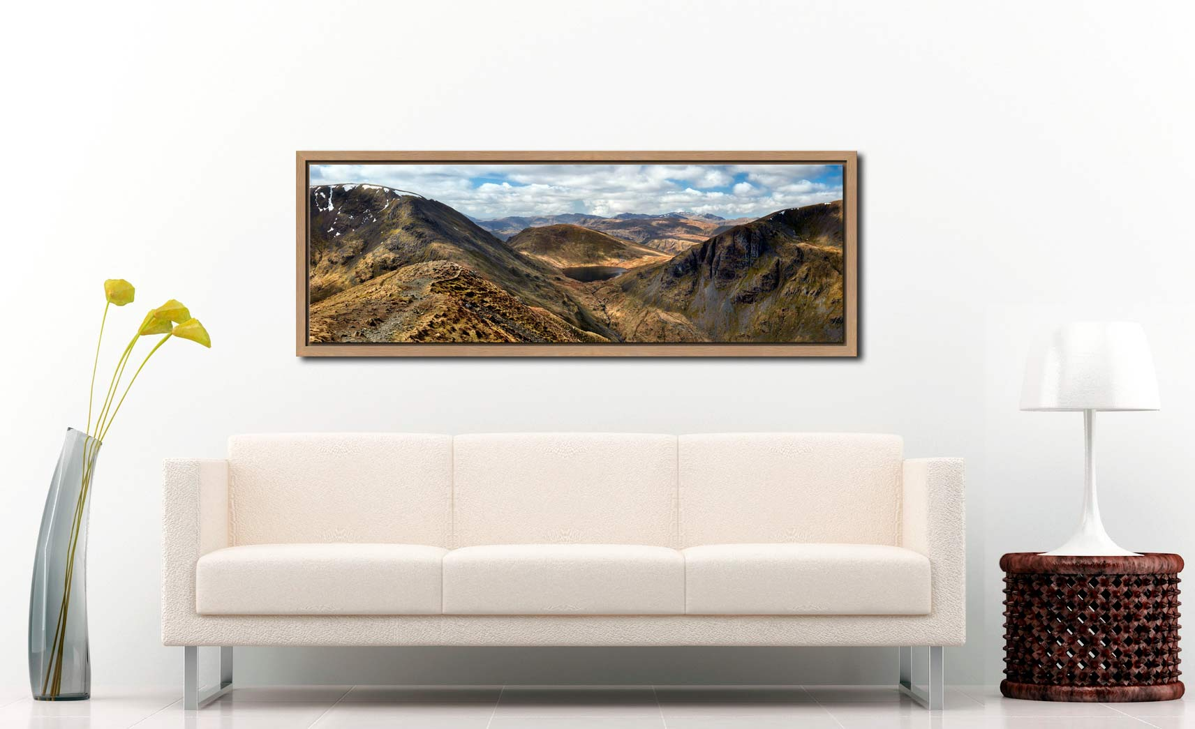 Grisedale Tarn From Deepdale Hause - Oak floater frame with acrylic glazing on Wall