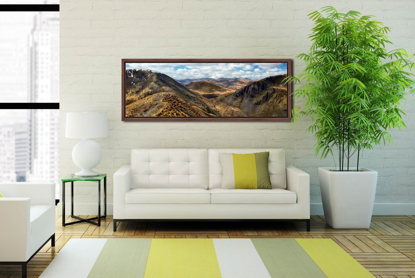 Grisedale Tarn From Deepdale Hause - Walnut floater frame with acrylic glazing on Wall