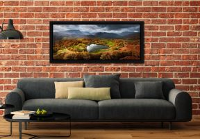 Loughrigg Tarn in Autumn Sunshine - Black oak floater frame with acrylic glazing on Wall