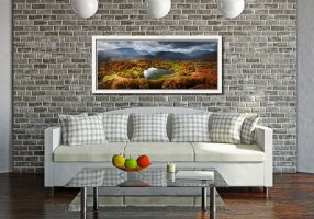 Loughrigg Tarn in Autumn Sunshine - White Maple floater frame with acrylic glazing on Wall