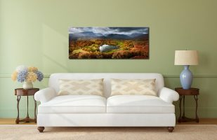 Loughrigg Tarn in Autumn Sunshine - Print Aluminium Backing With Acrylic Glazing on Wall